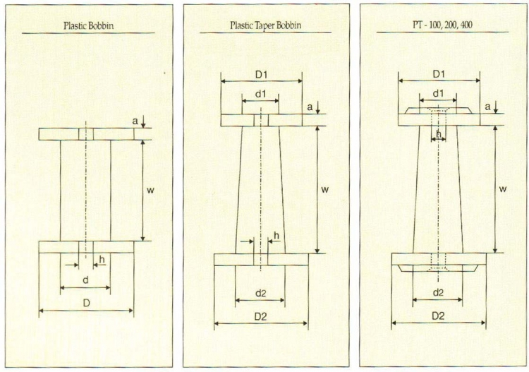 Litz Wire spool_P-4, PT-4 to PT-400_drawing